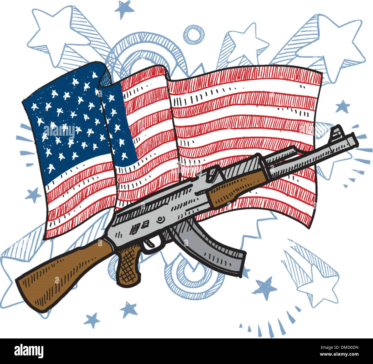 America loves assault rifles sketch - Stock Image
