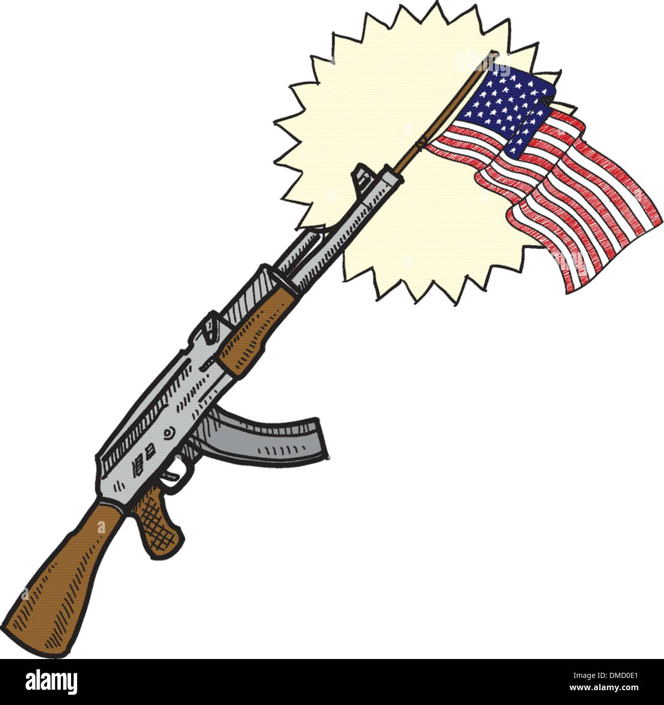 All-American assault rifle sketch - Stock Image
