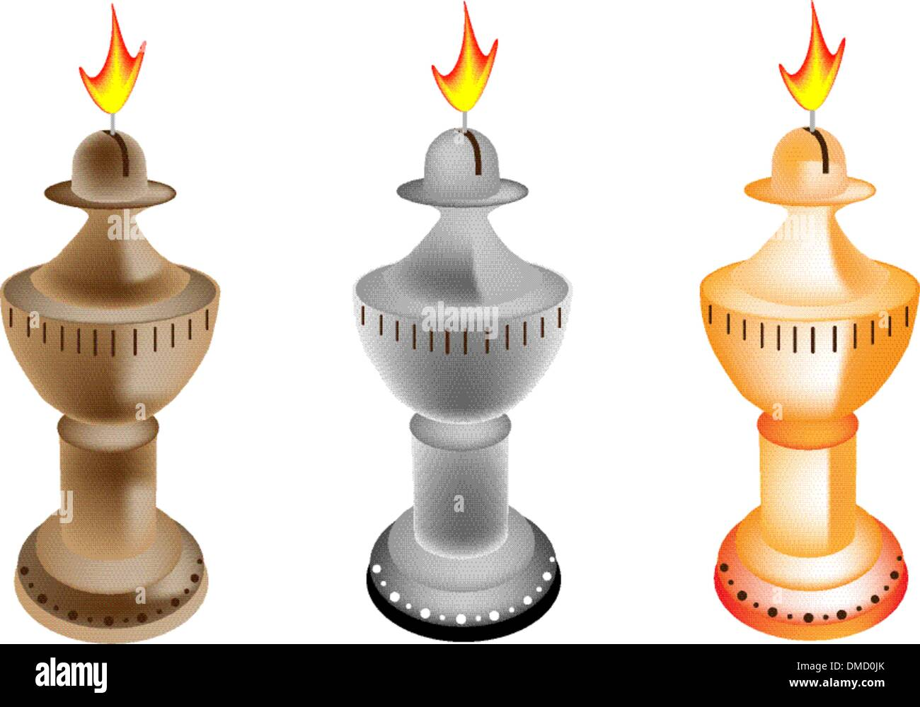 An Illustration Set of Old Fashioned Oil Lamp - Stock Vector