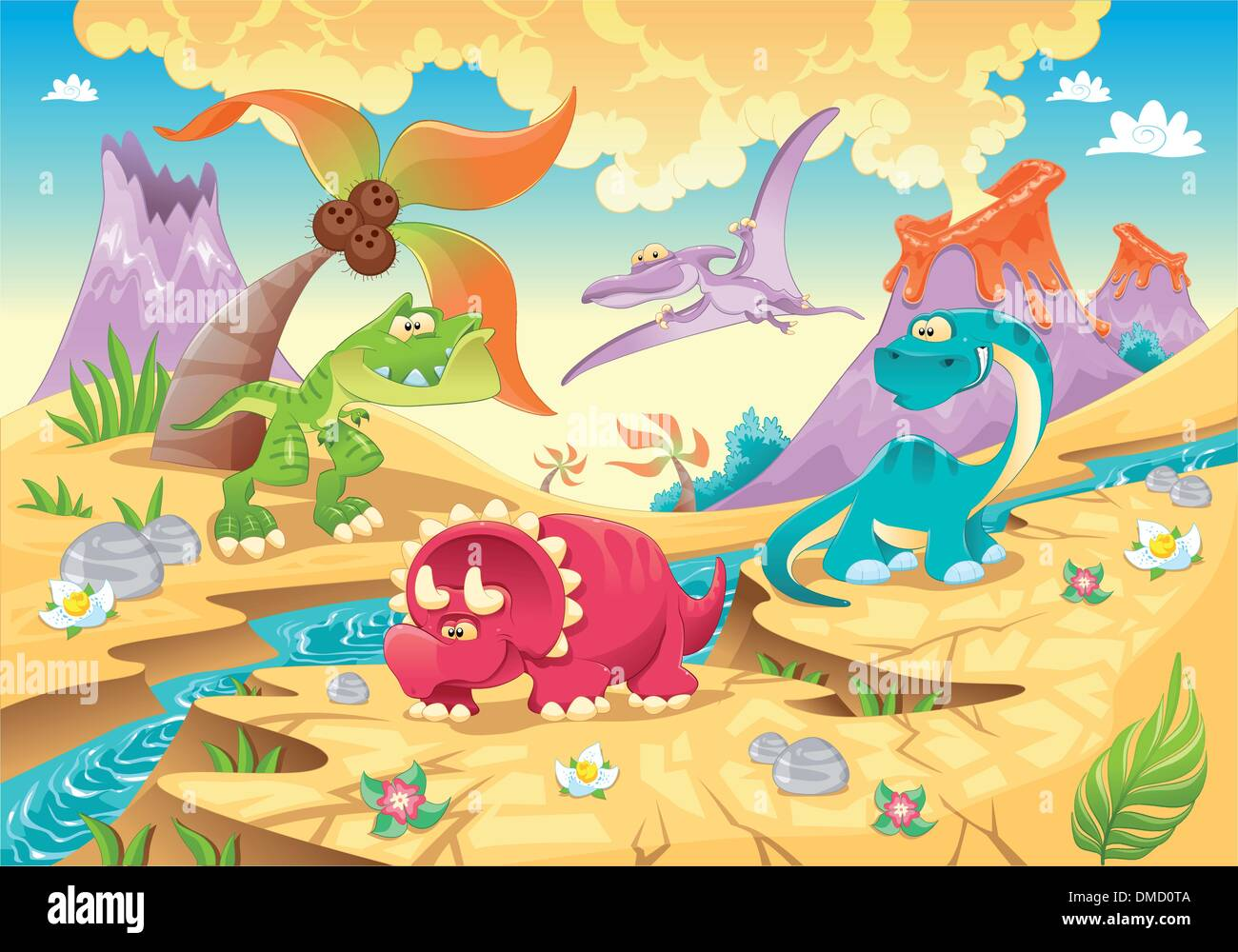 Dinosaurs Family with background. - Stock Image