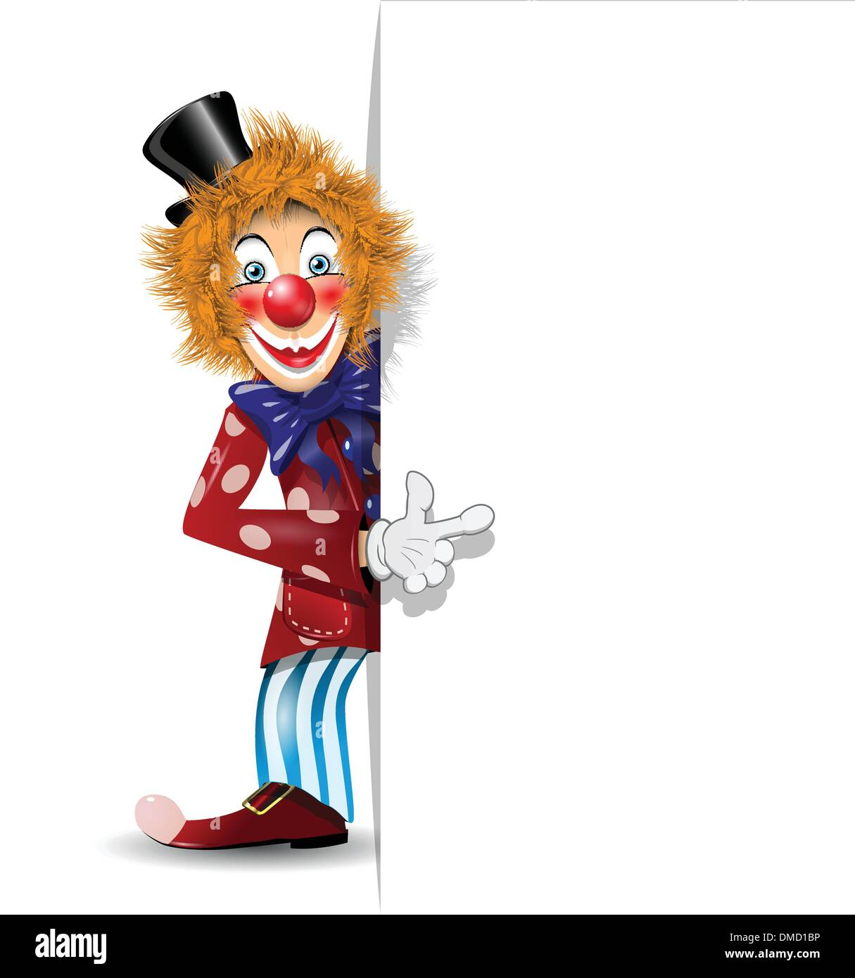 cheerful clown and white background - Stock Image