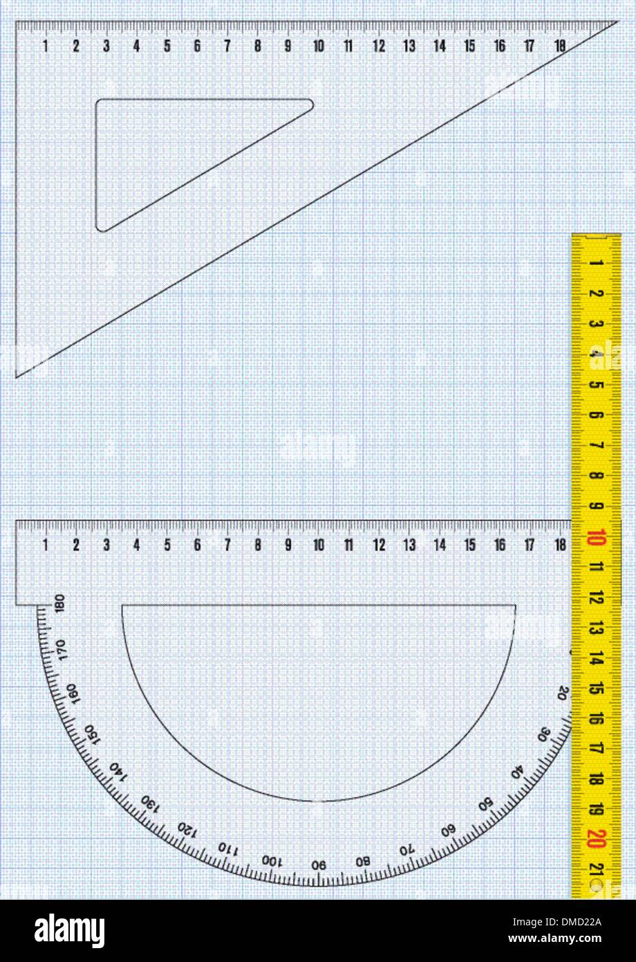 Graph paper and rulers - Stock Vector