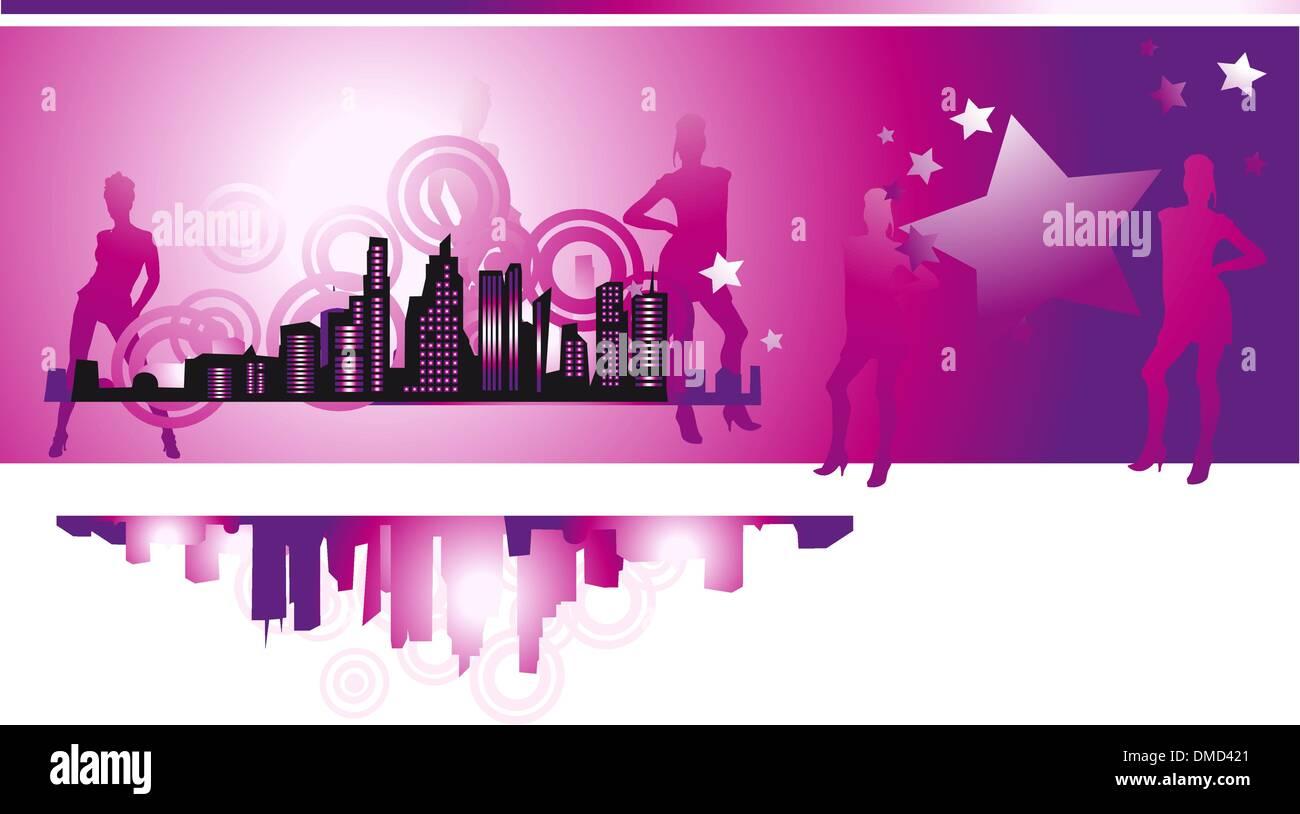 Cityscape, urban frame, fashion girls, night life Stock Vector Art ...