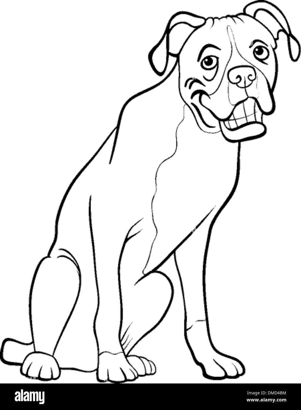 Boxer Dog Cartoon For Coloring Book