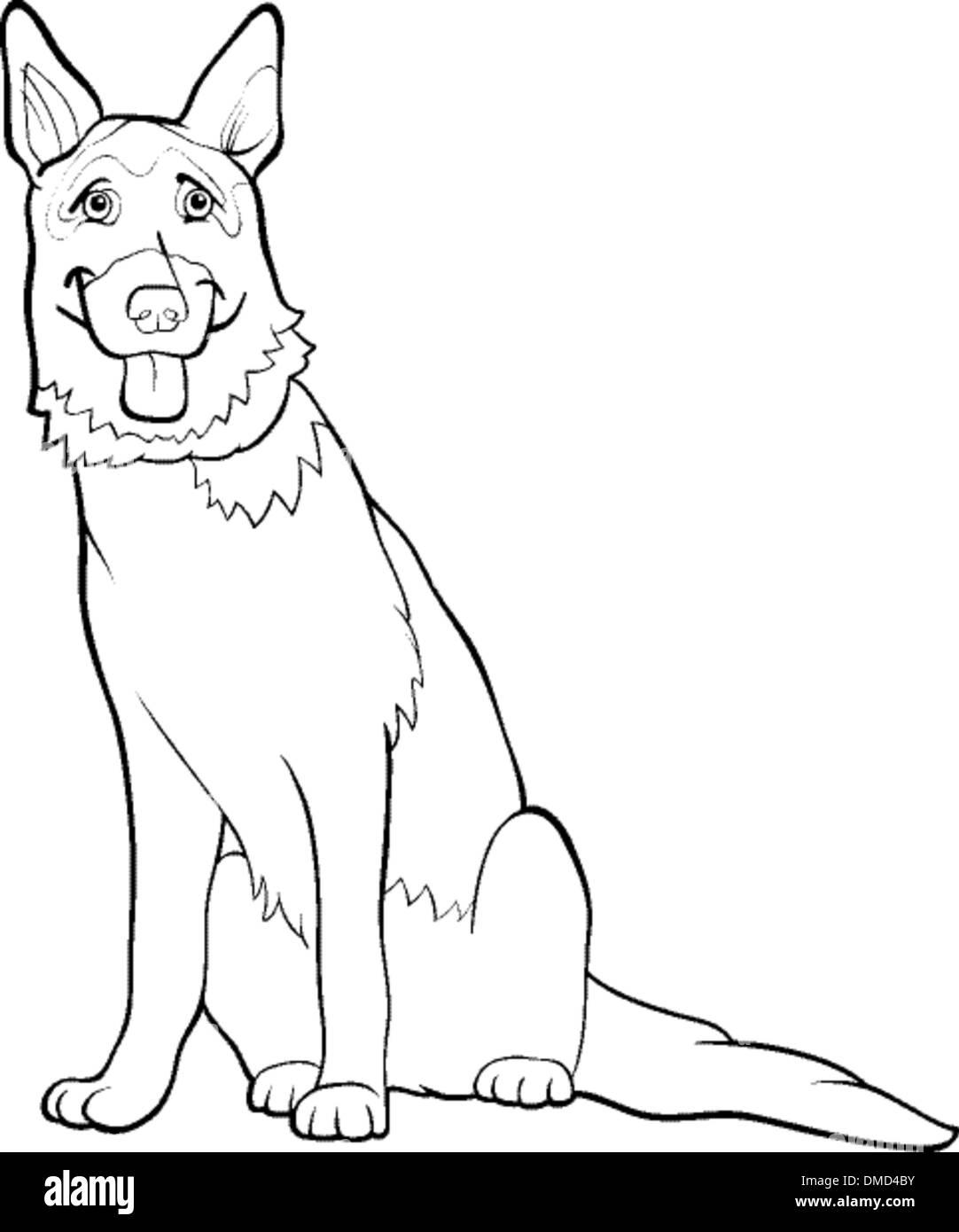 german shepherd dog cartoon for coloring - Stock Vector