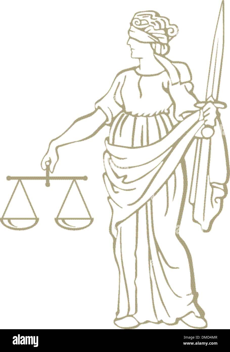 justice statue - Stock Vector