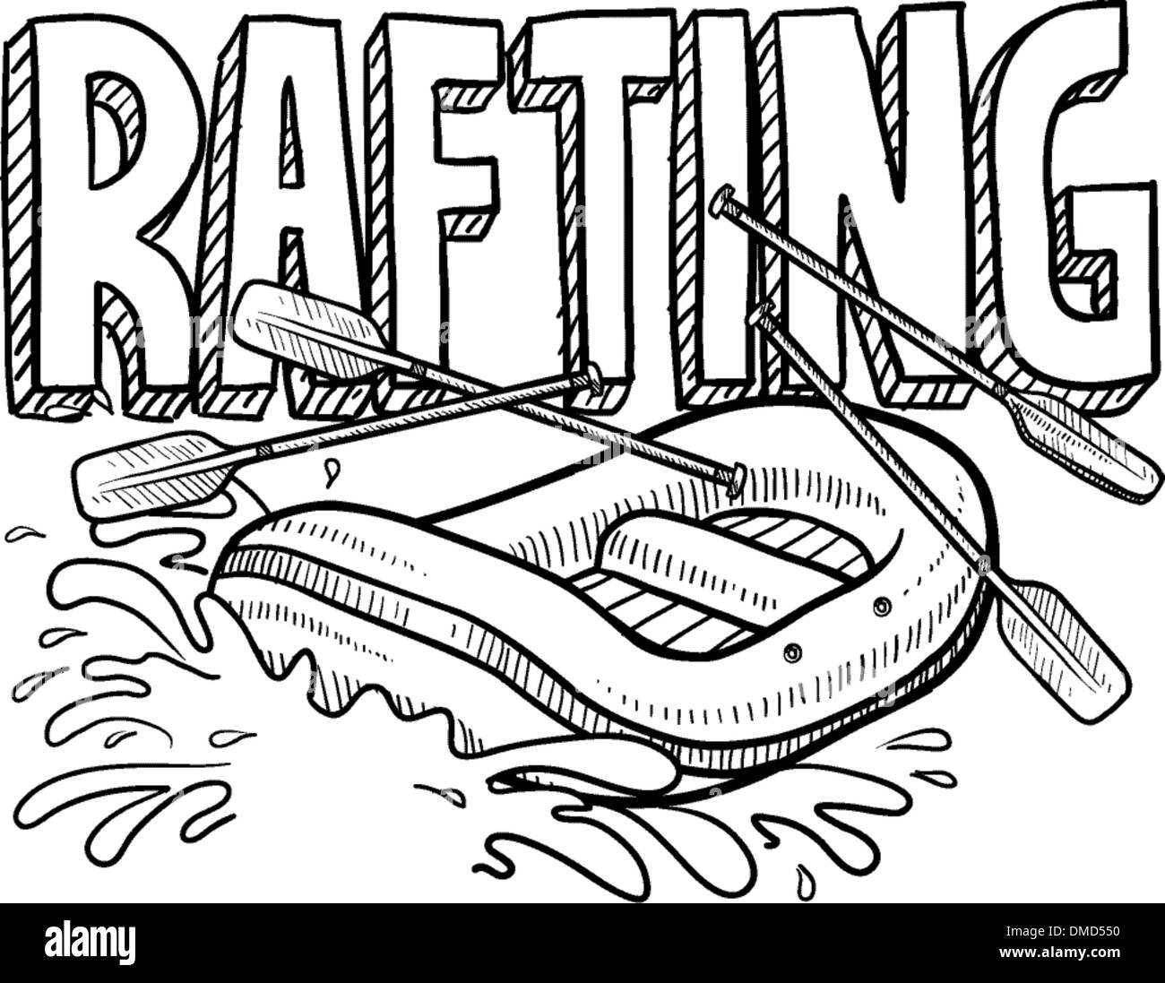 Whitewater rafting sketch - Stock Vector