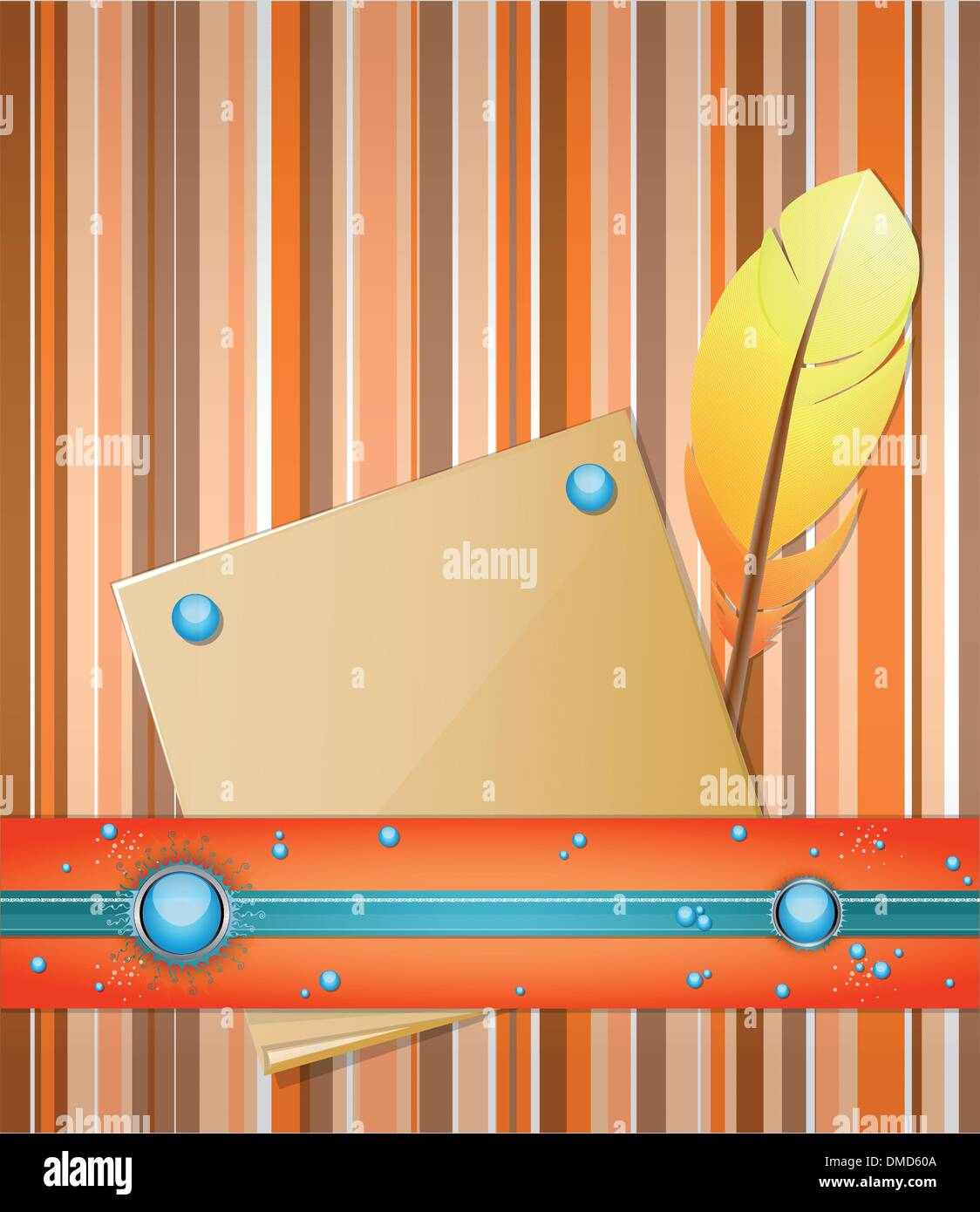 orange blue background with feather and paper stock image