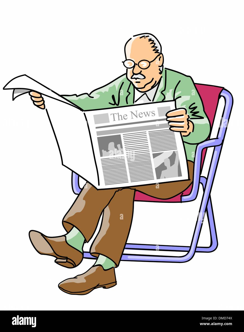 grandfather reading the newspaper stock vector art & illustration