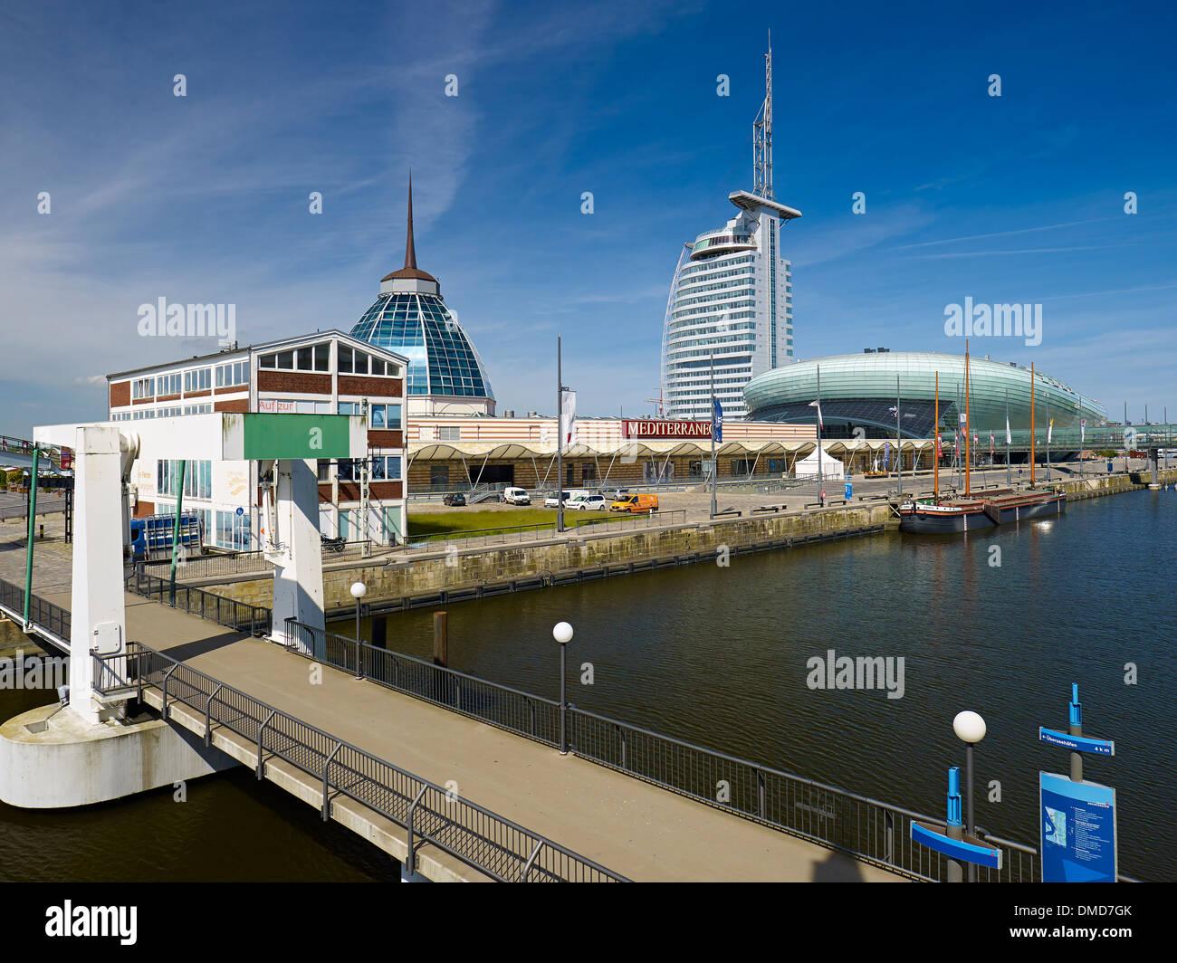Klimahaus, Atlantic Sail City Hotel and Mediterraneo, Bremerhaven, Bremen, Germany - Stock Image