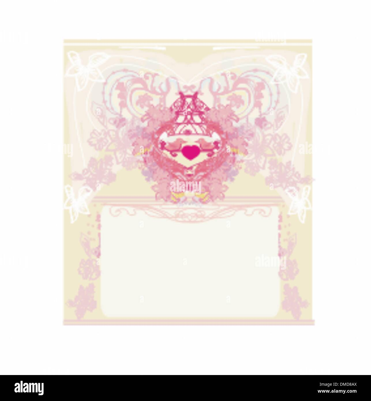 greeting card with 2 sweet love birds - wedding invitation Stock ...