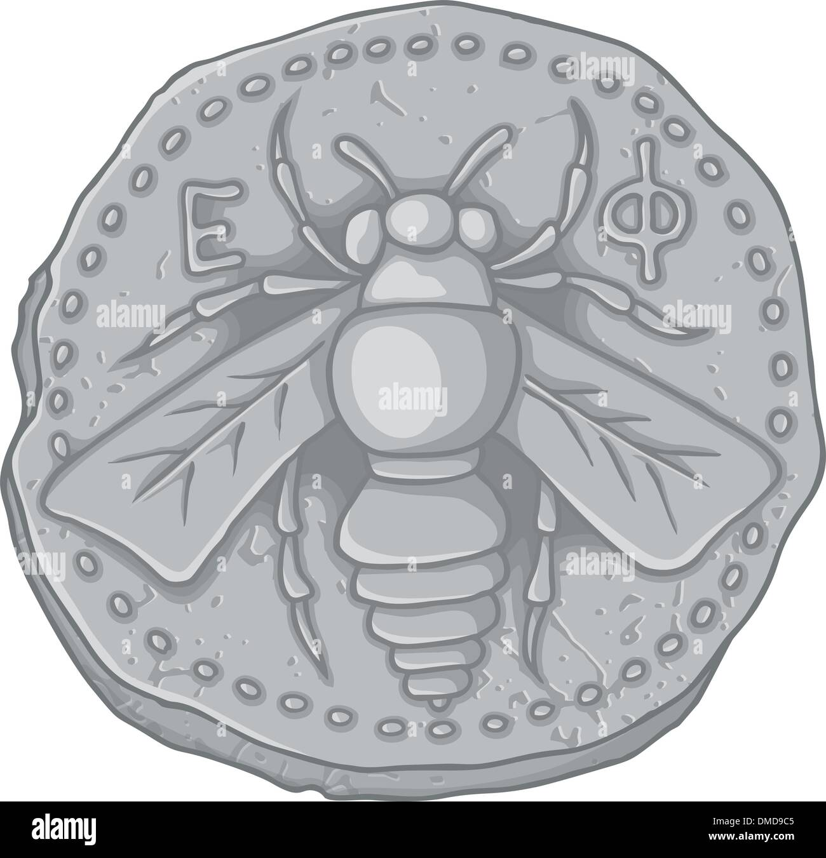Honey bee coin - Stock Vector