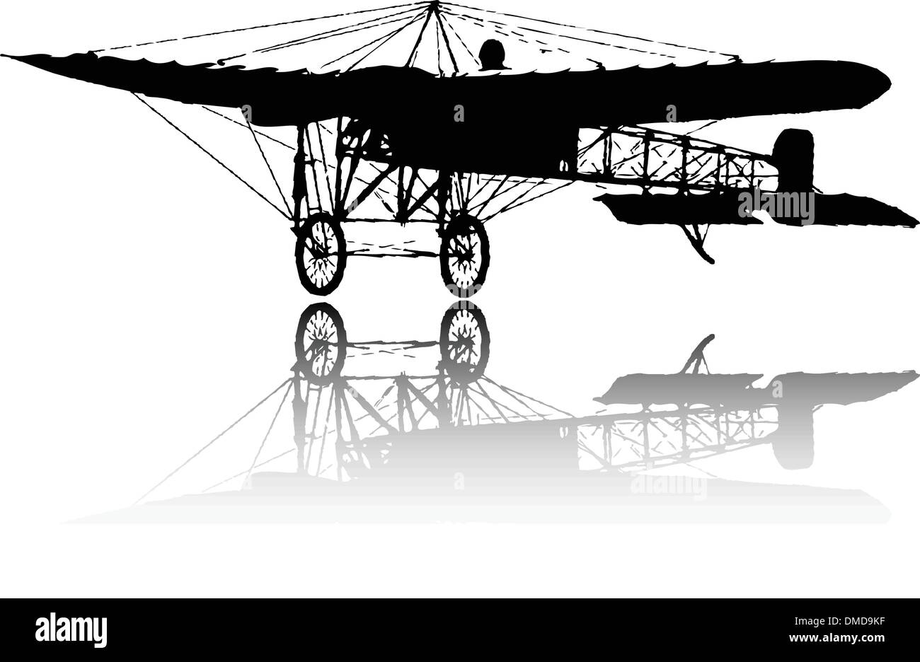 the vector old plane silhouette - Stock Image