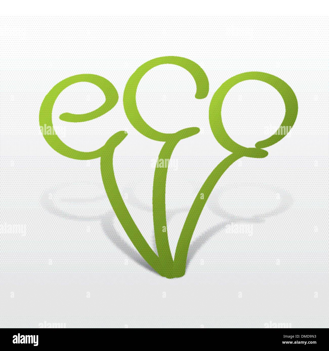 eco icon in the form of a germ - Stock Image