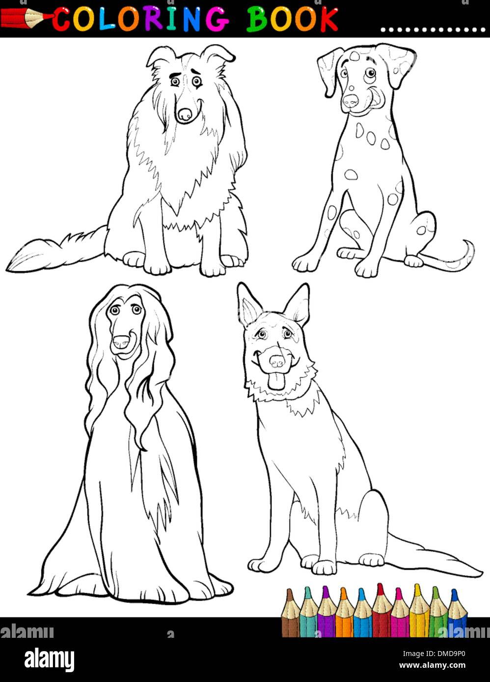 Cartoon purebred Dogs Coloring Page - Stock Vector