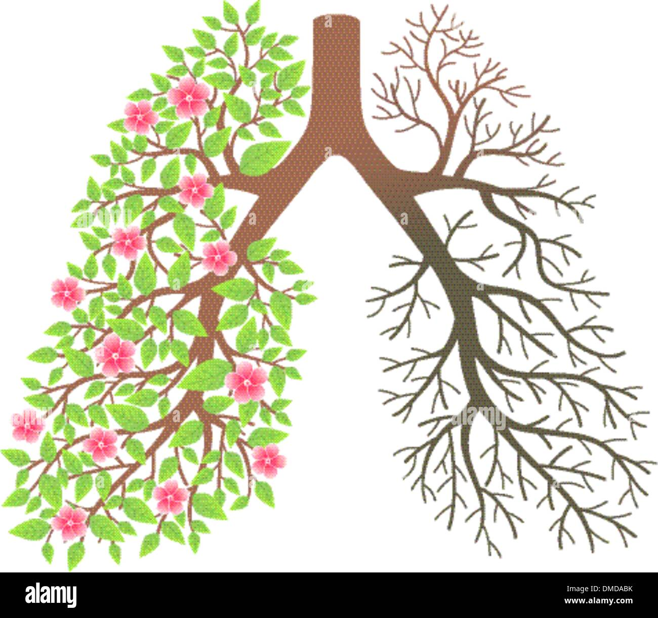 Lungs. Effect after smoking and disease - Stock Vector