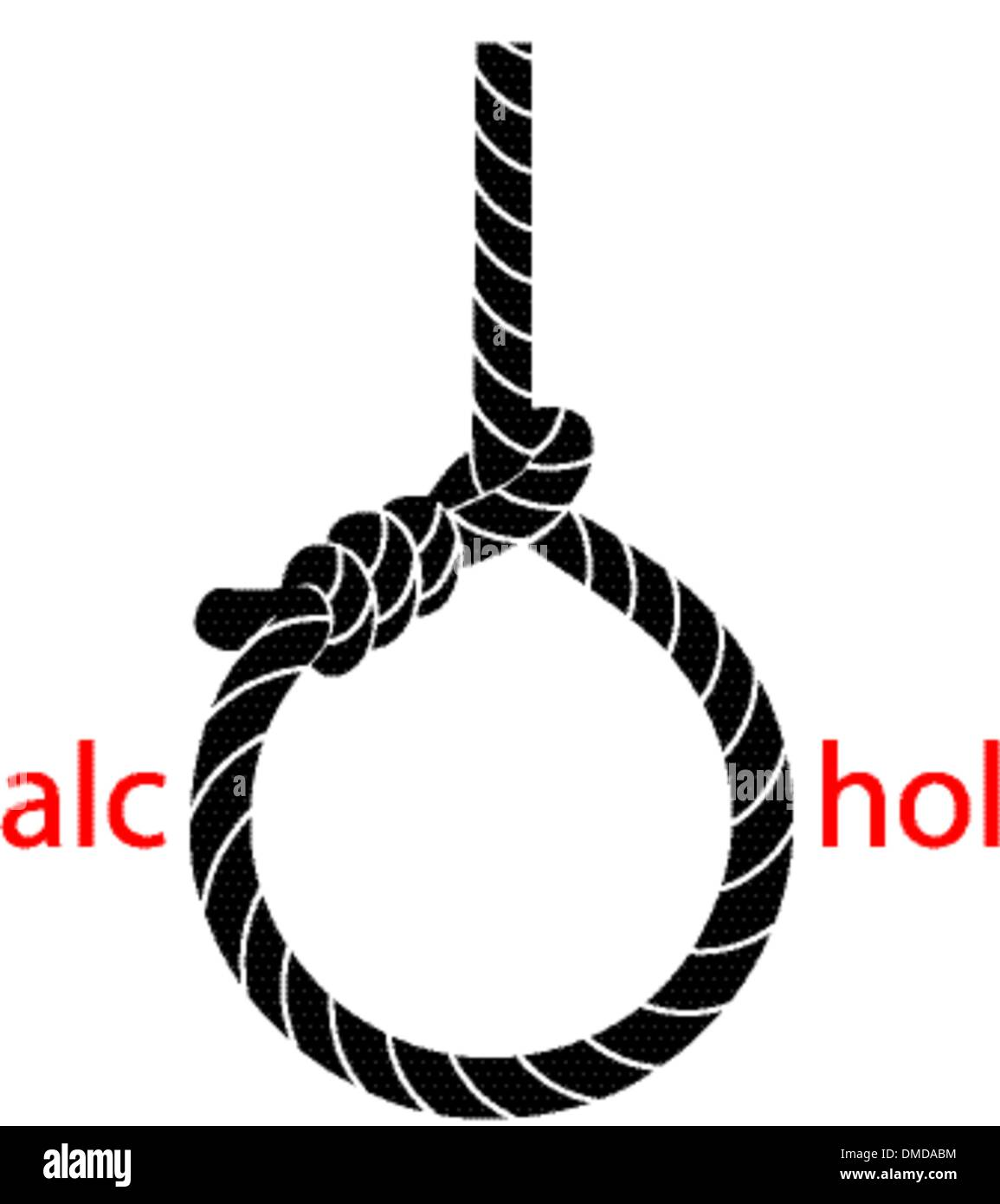 Hangman's noose with protest against alcohol - Stock Image