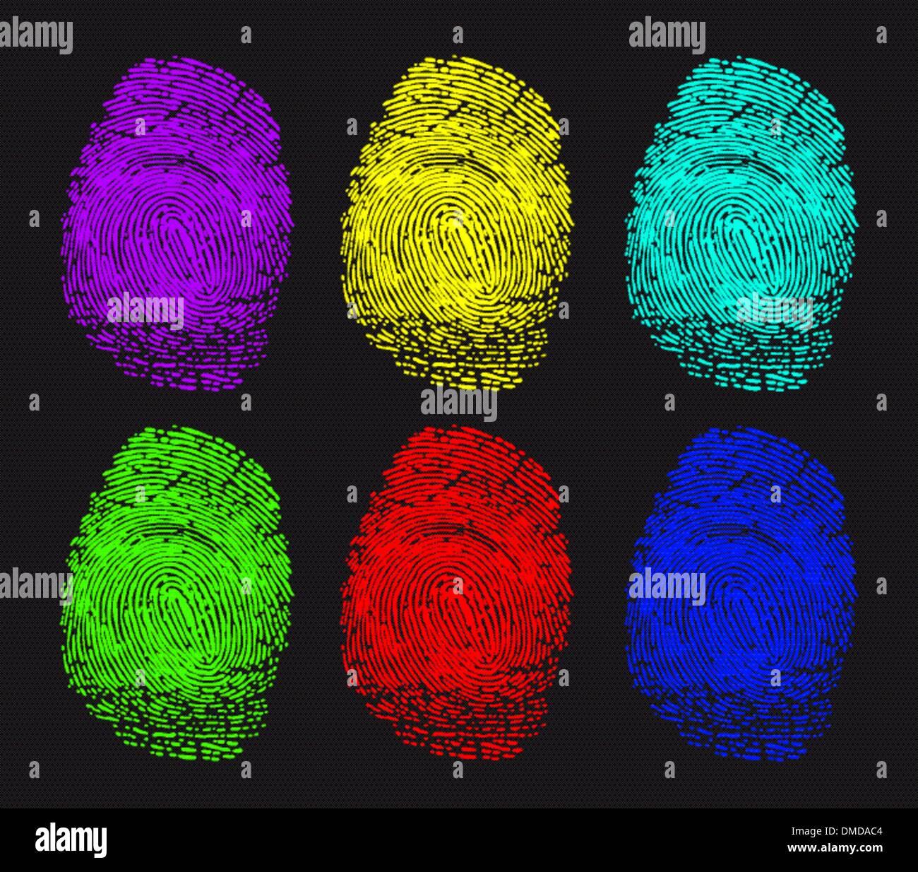 colored fingerprints - Stock Image