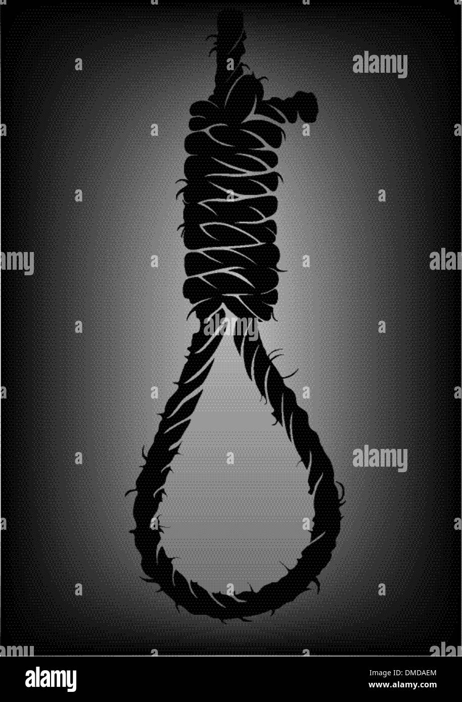 Old Rope With Hangmans Noose Stock Vector Art Illustration