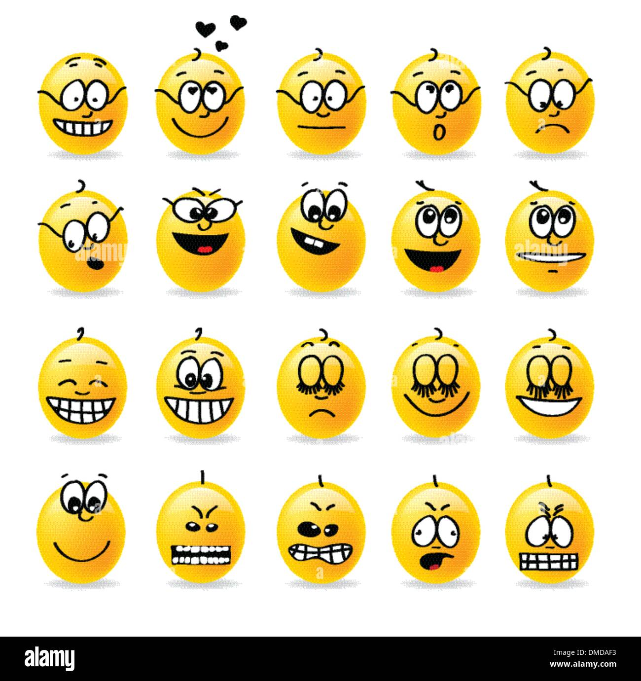 vector smiley emotions moods - Stock Image