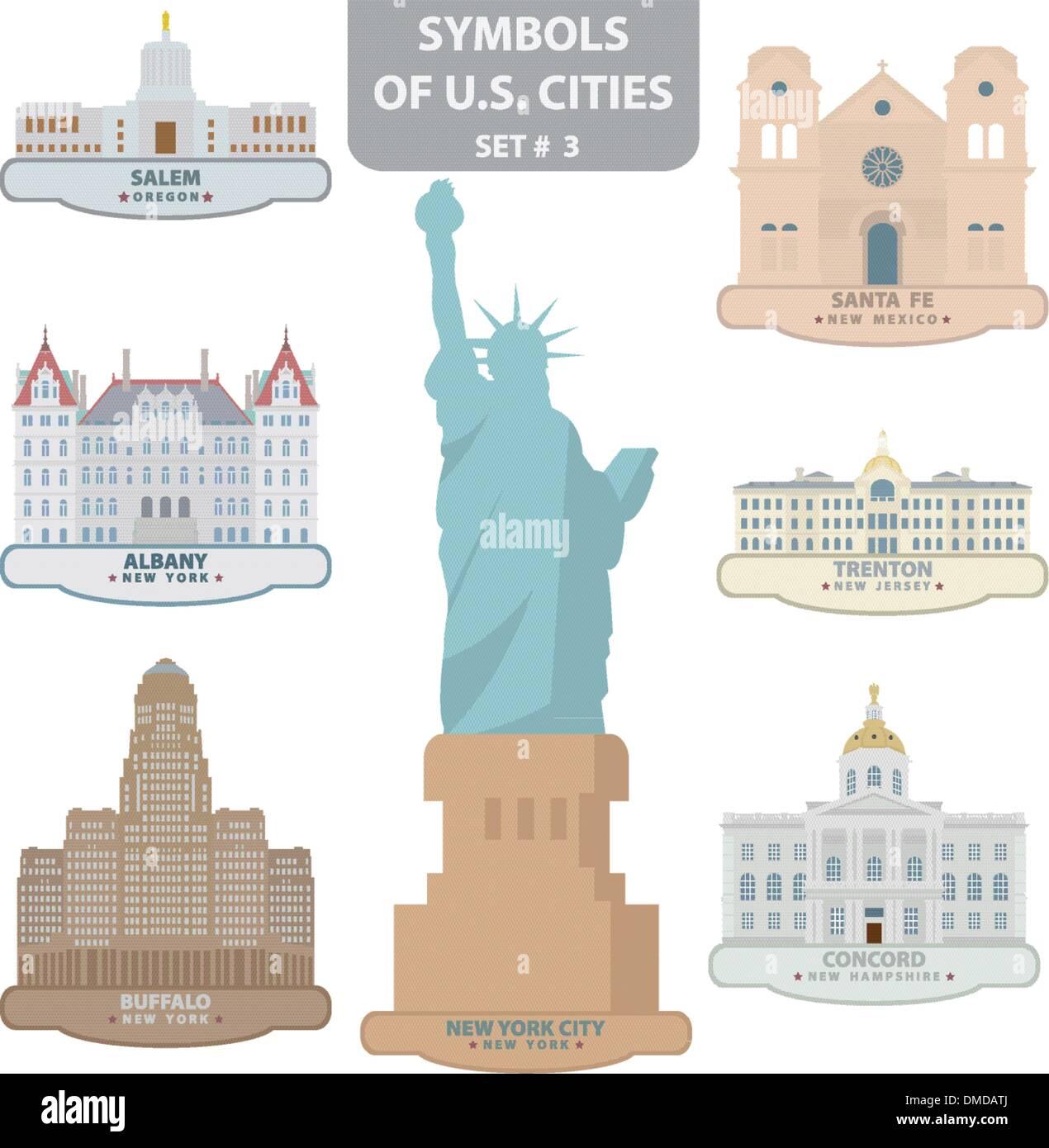 Symbols Of Us Cities Stock Vector Art Illustration Vector Image