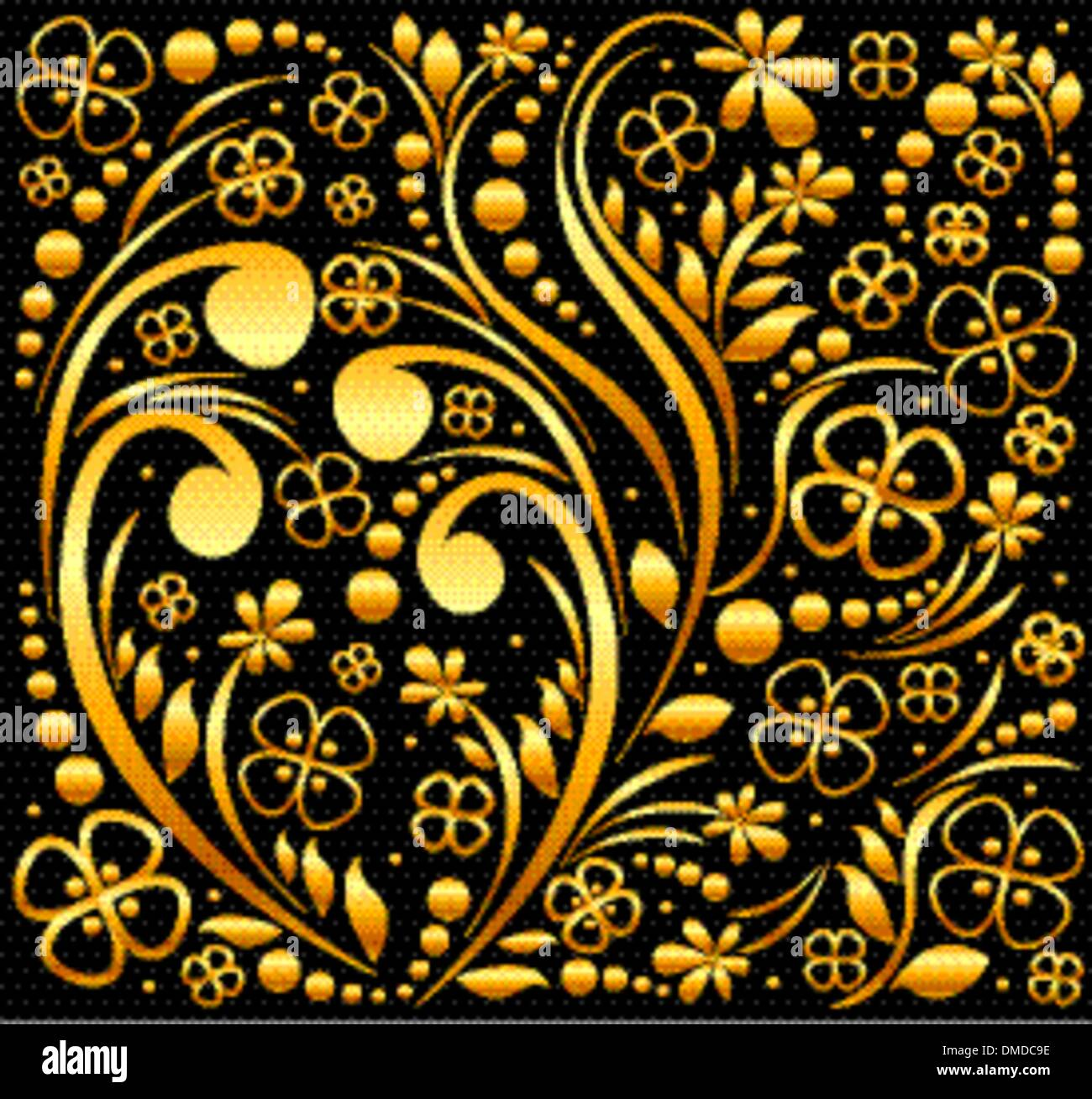Vector Black Gold Floral Background Stock Photos Vector Black