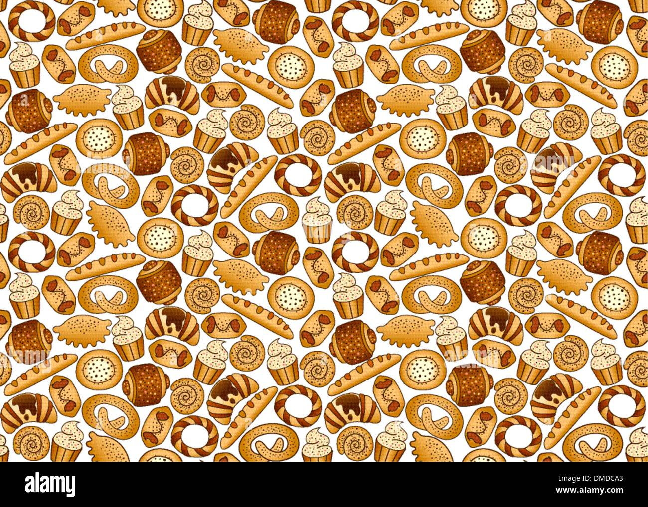 Bakery foodstuffs set on a white background - Stock Vector