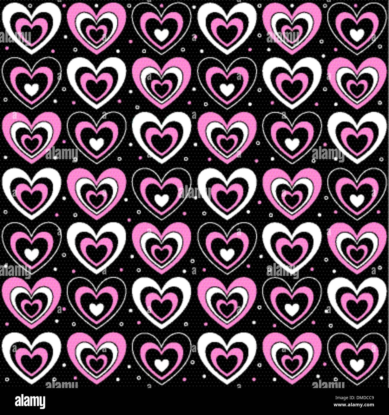 Hearts On A Black Background Stock Vector Art Illustration