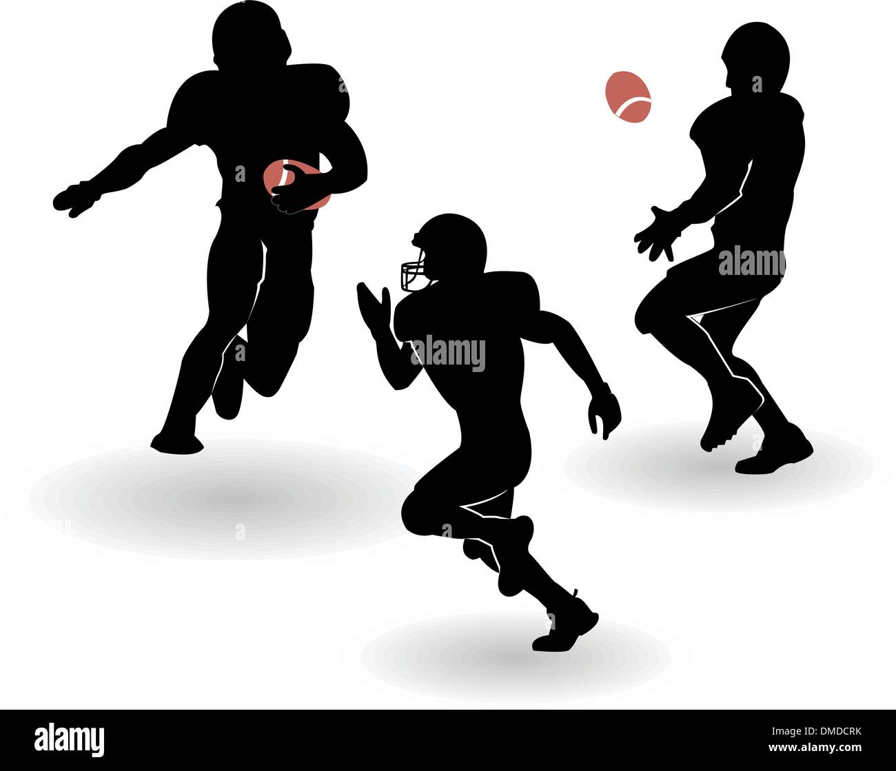 the vector american football silhouettes set - Stock Image