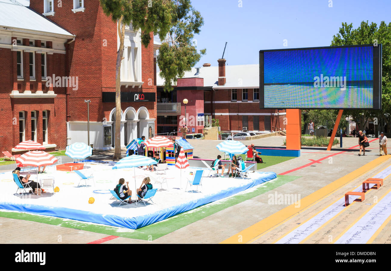 A temporary beach in inner city Perth  at the Perth Cultural Centre. - Stock Image