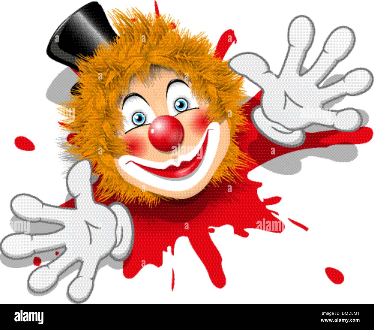 redhaired clown in white gloves - Stock Image
