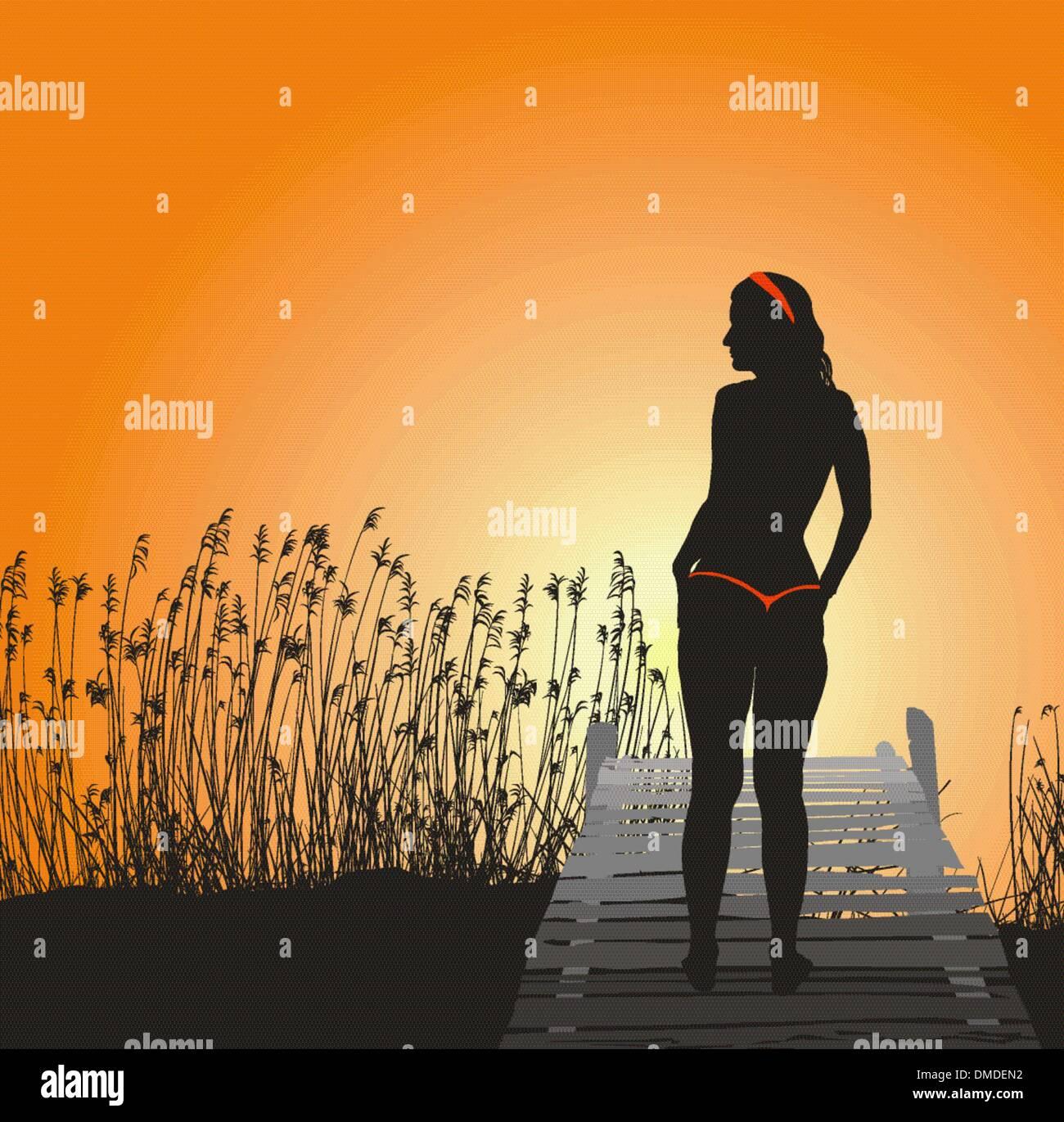 Girl in Tango bikini - Stock Vector