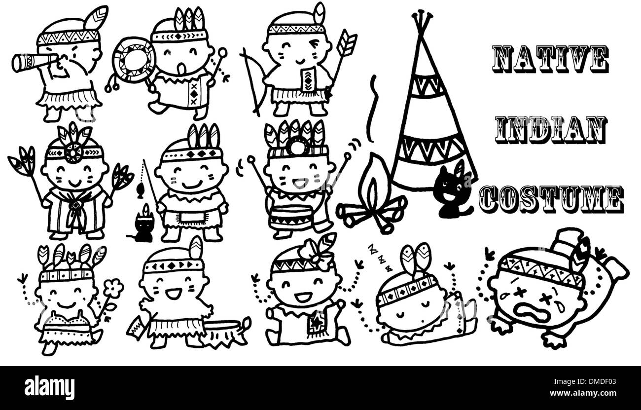 Cartoon indian costume icons in black - Stock Image