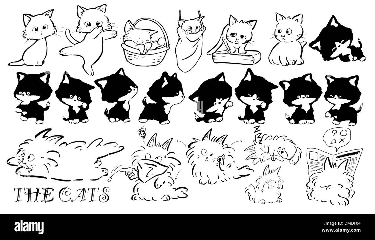 Cat cartoon icons in black - Stock Image