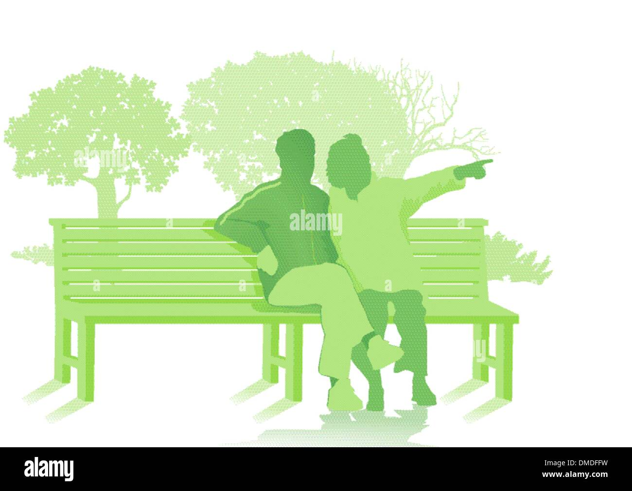 Park bench with two seniors - Stock Vector