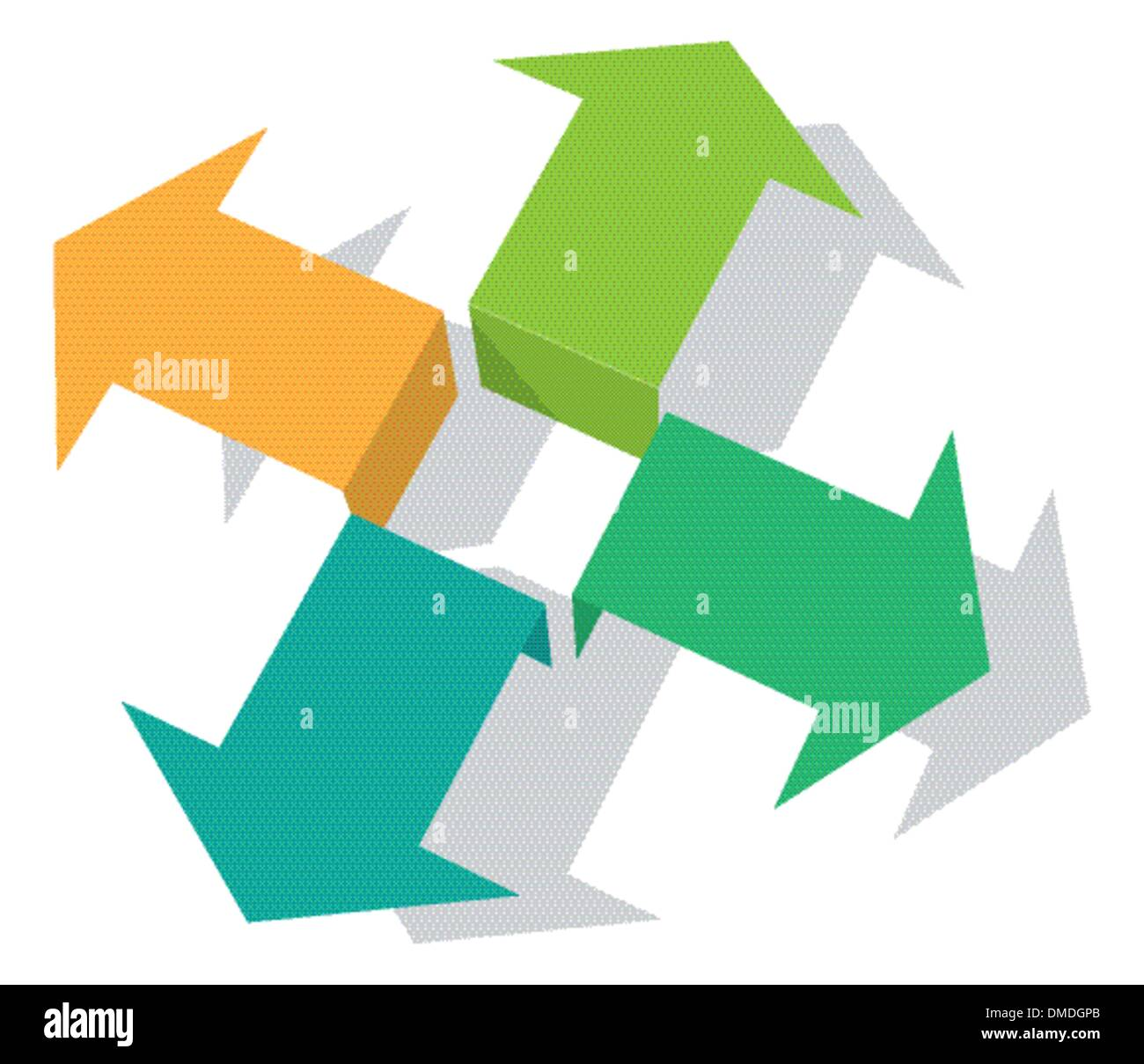 Four green arrows pointing into different directions - Stock Image