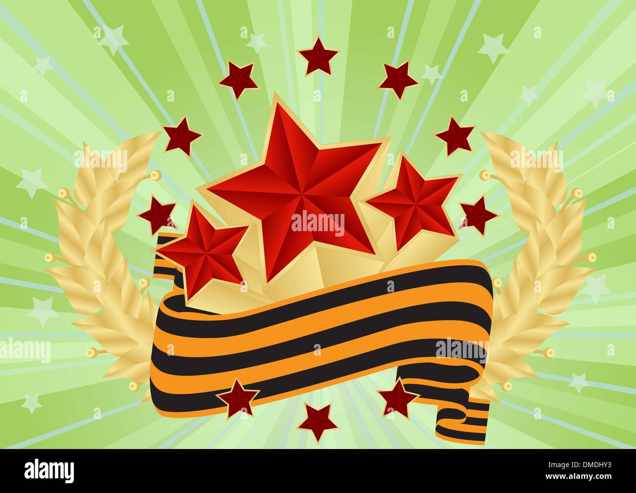 greeting card with red stars - Stock Vector