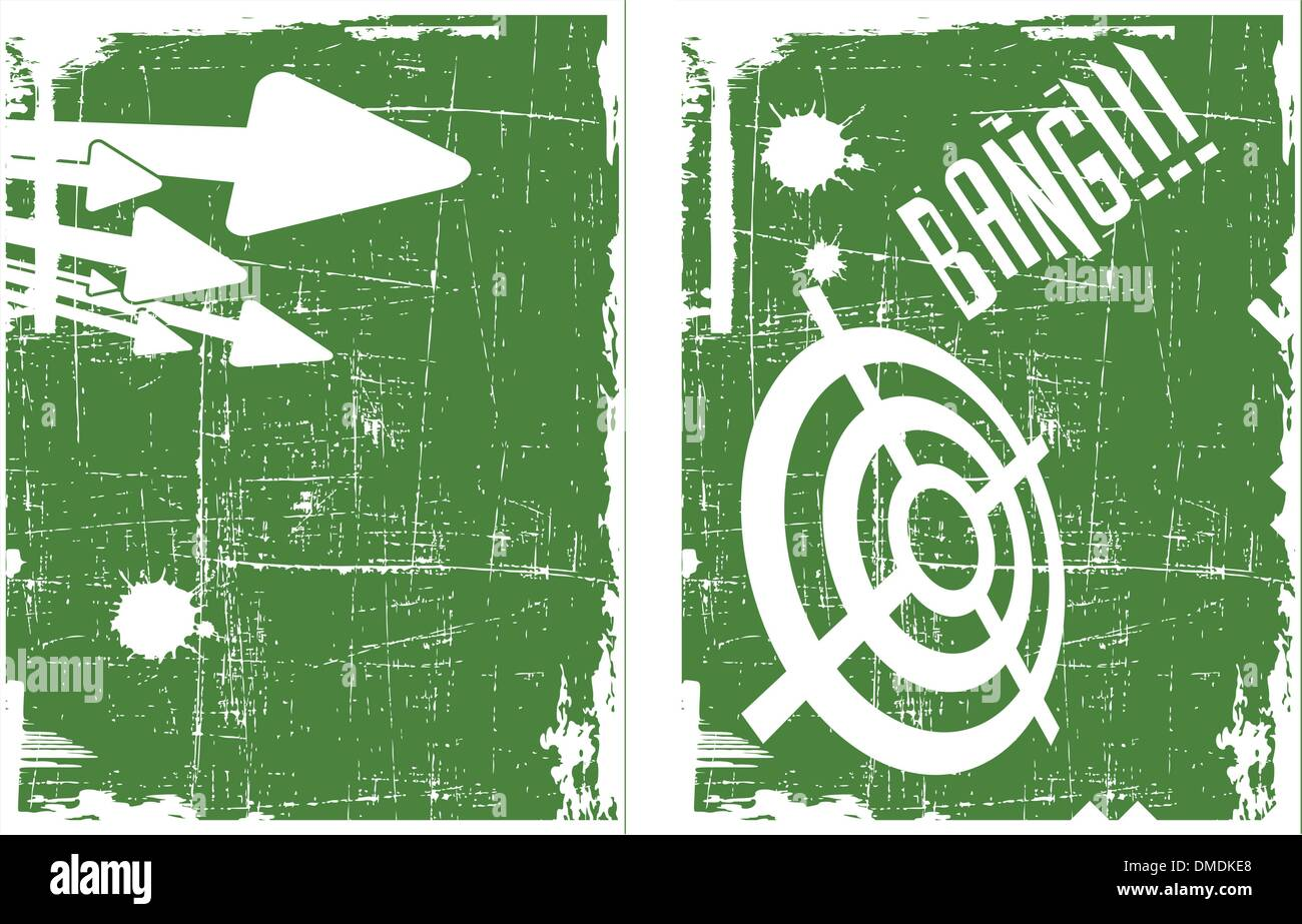 the abstract vector target on grunge background set - Stock Image