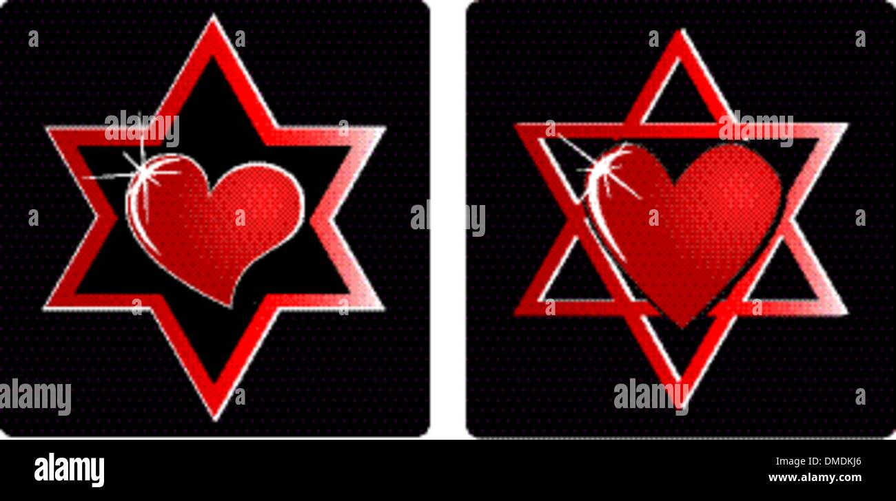 Israel heart - Stock Vector