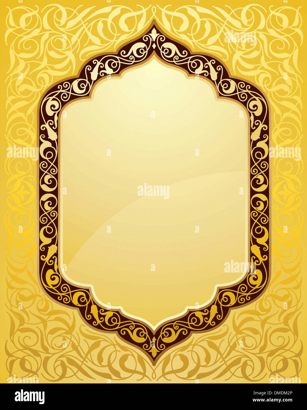 elegant islamic template design in gold background stock vector art