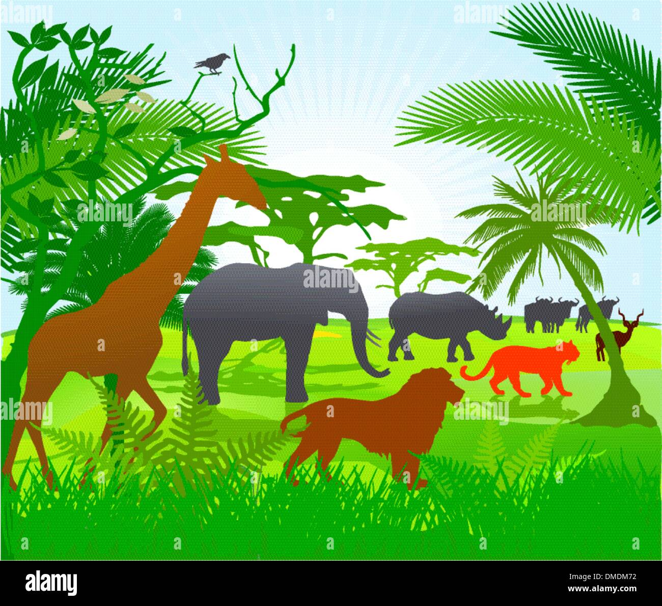 Jungle with animals Stock Vector