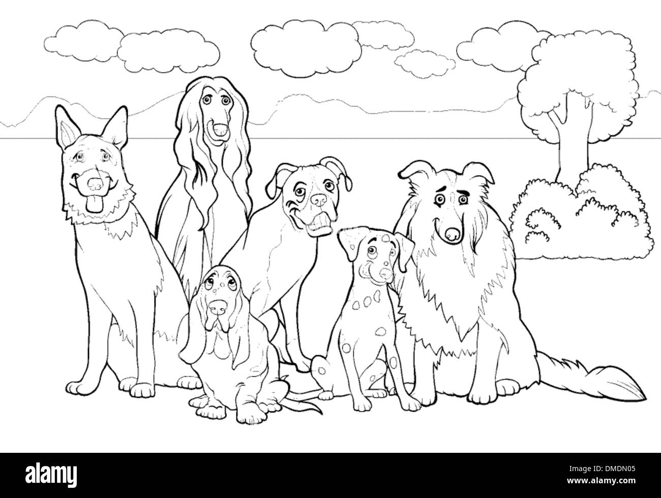 purebred dogs cartoon for coloring book - Stock Vector