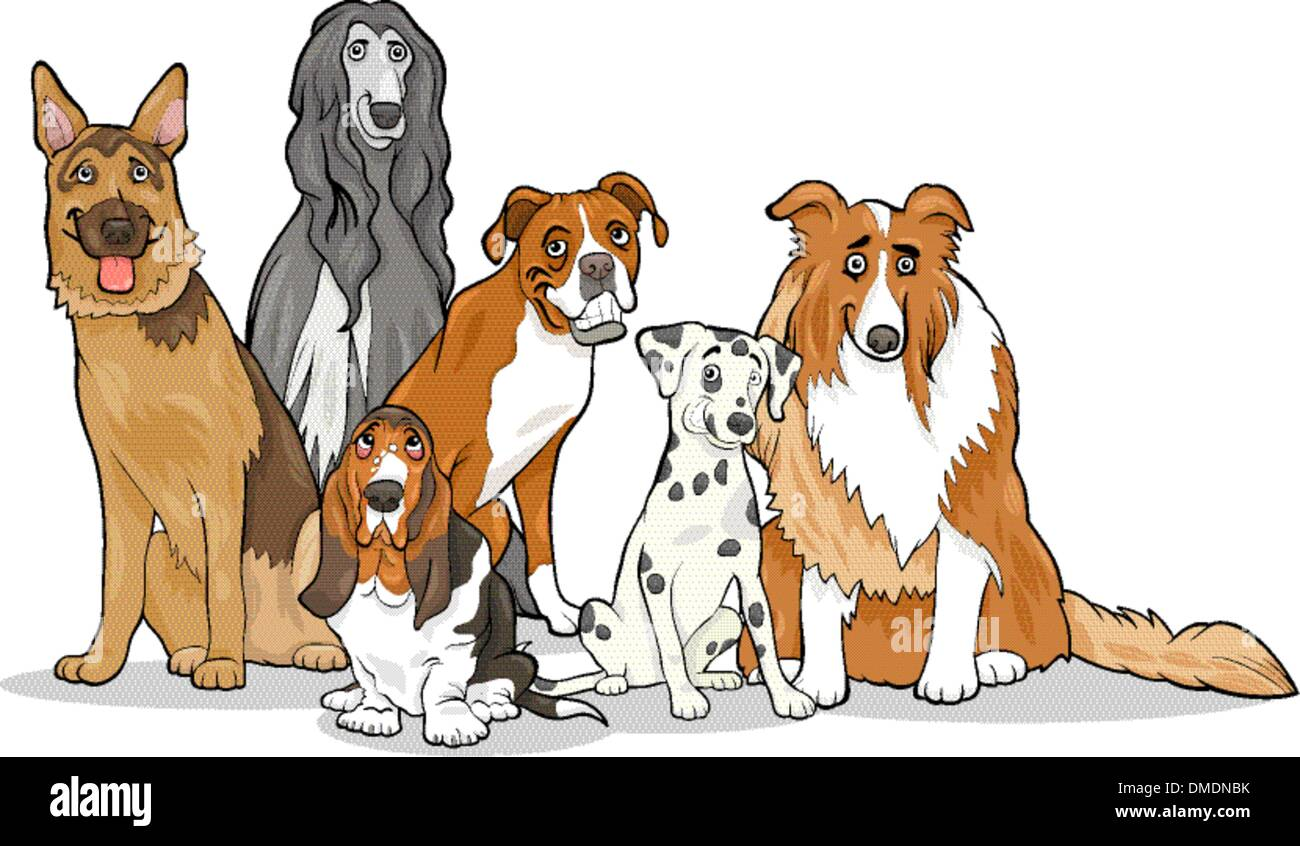cute purebred dogs group cartoon illustration - Stock Vector