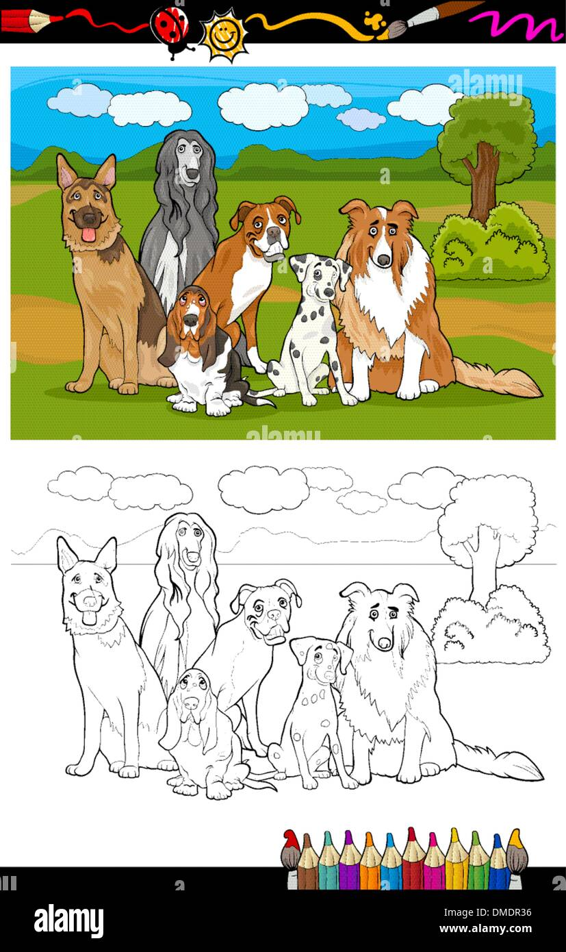 dogs breeds cartoon for coloring book - Stock Vector