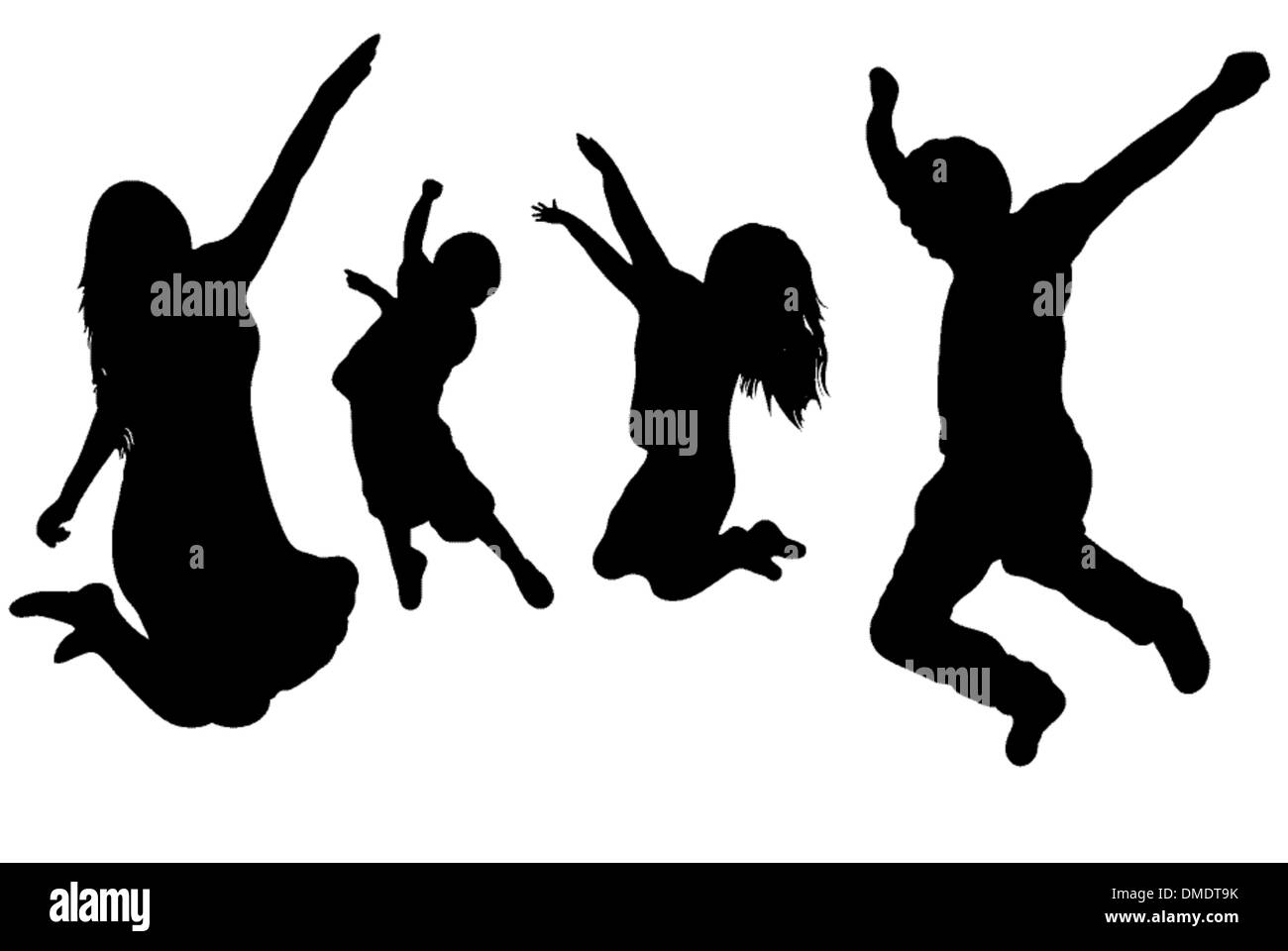 Jumping Family - Stock Vector