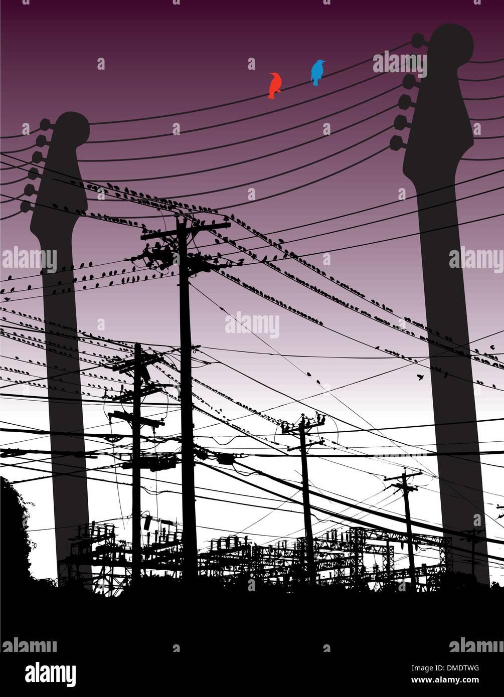 An electric guitar among birds and telephone poles - Stock Vector