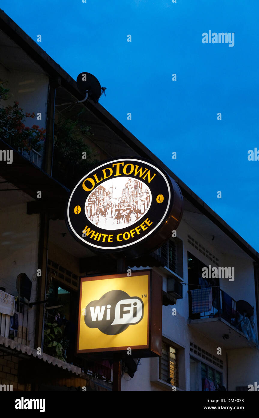 wifi available sign at coffee shop in Malaysia - Stock Image