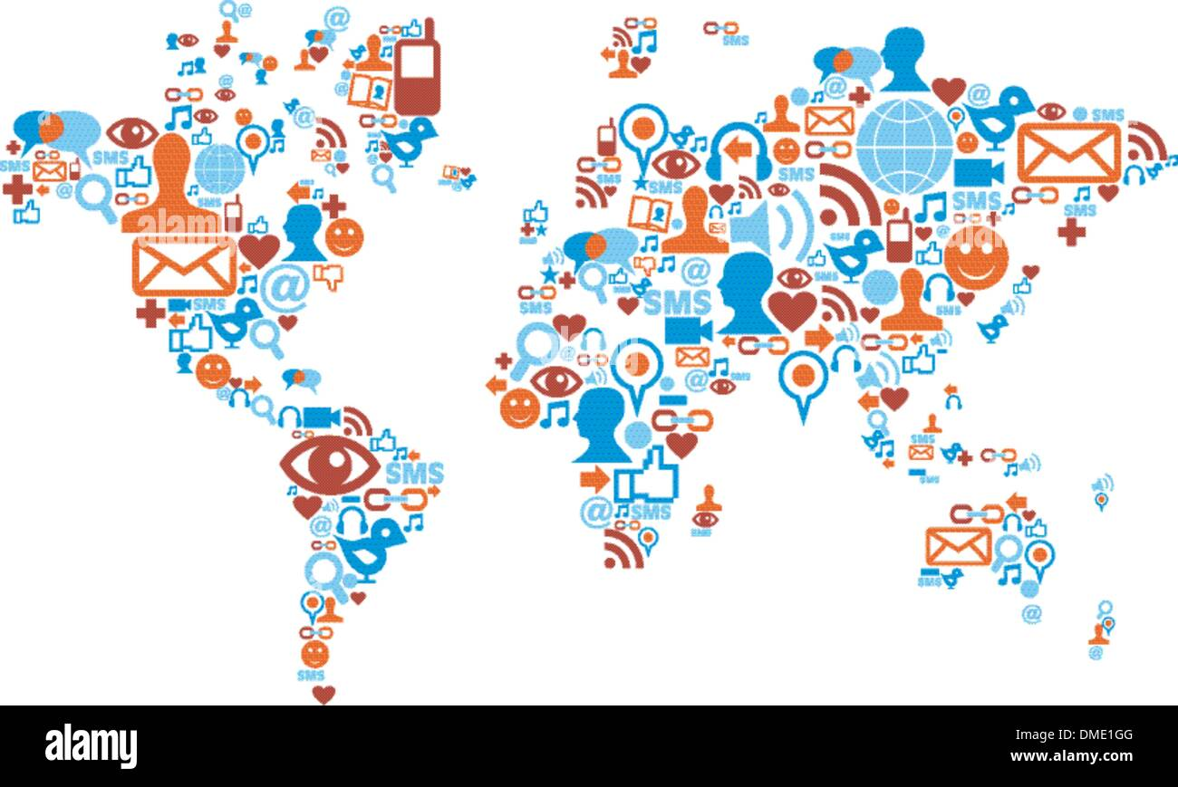 World map shape made with social media icons stock vector art world map shape made with social media icons gumiabroncs Images