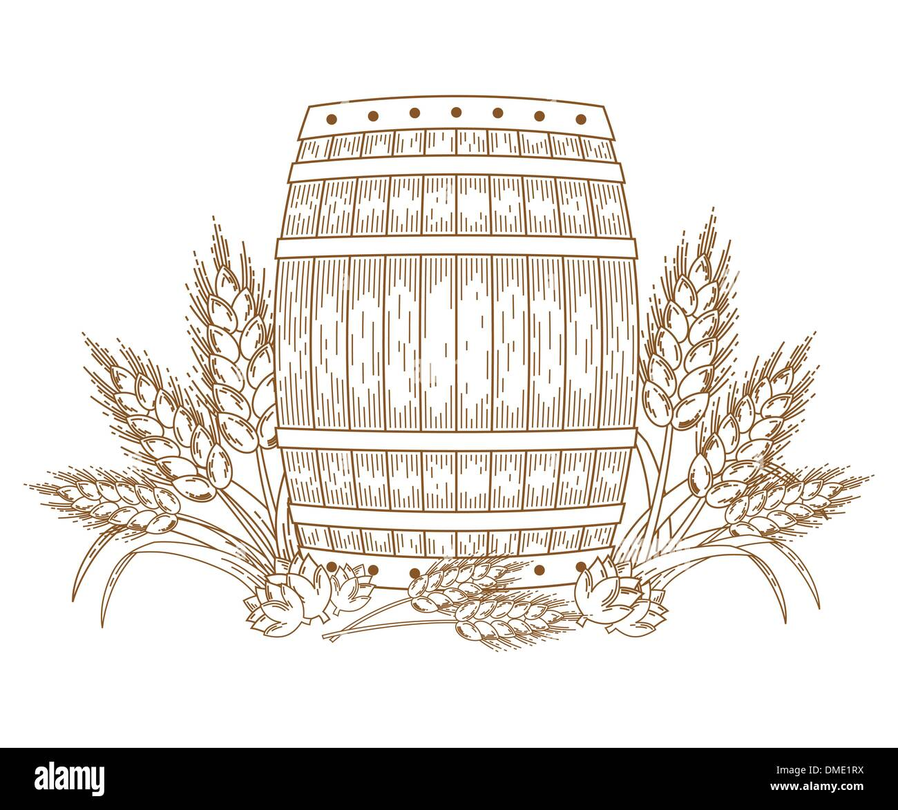 Barrel with wheat ears - Stock Image