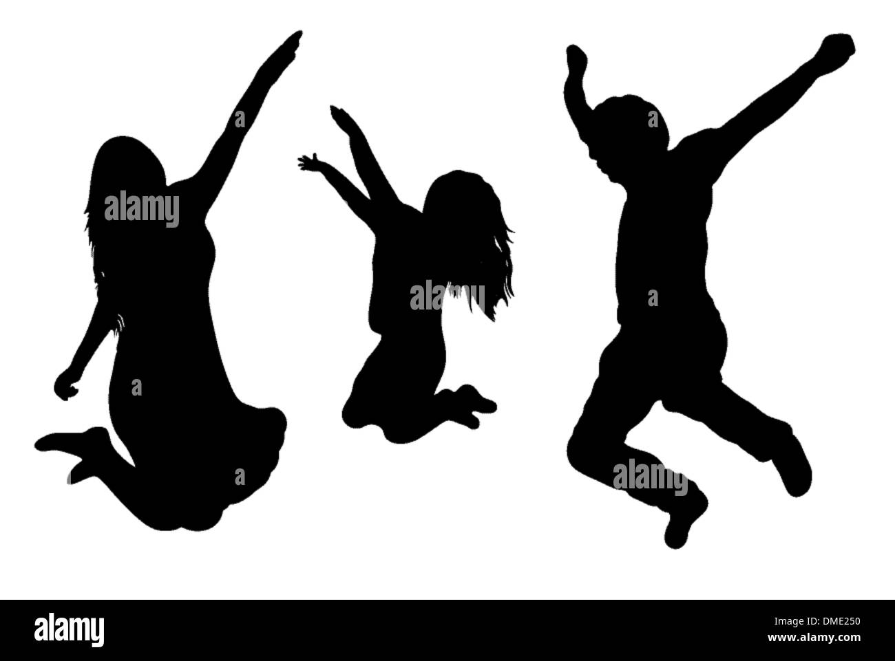 Jumping Family Silhouette - Stock Image